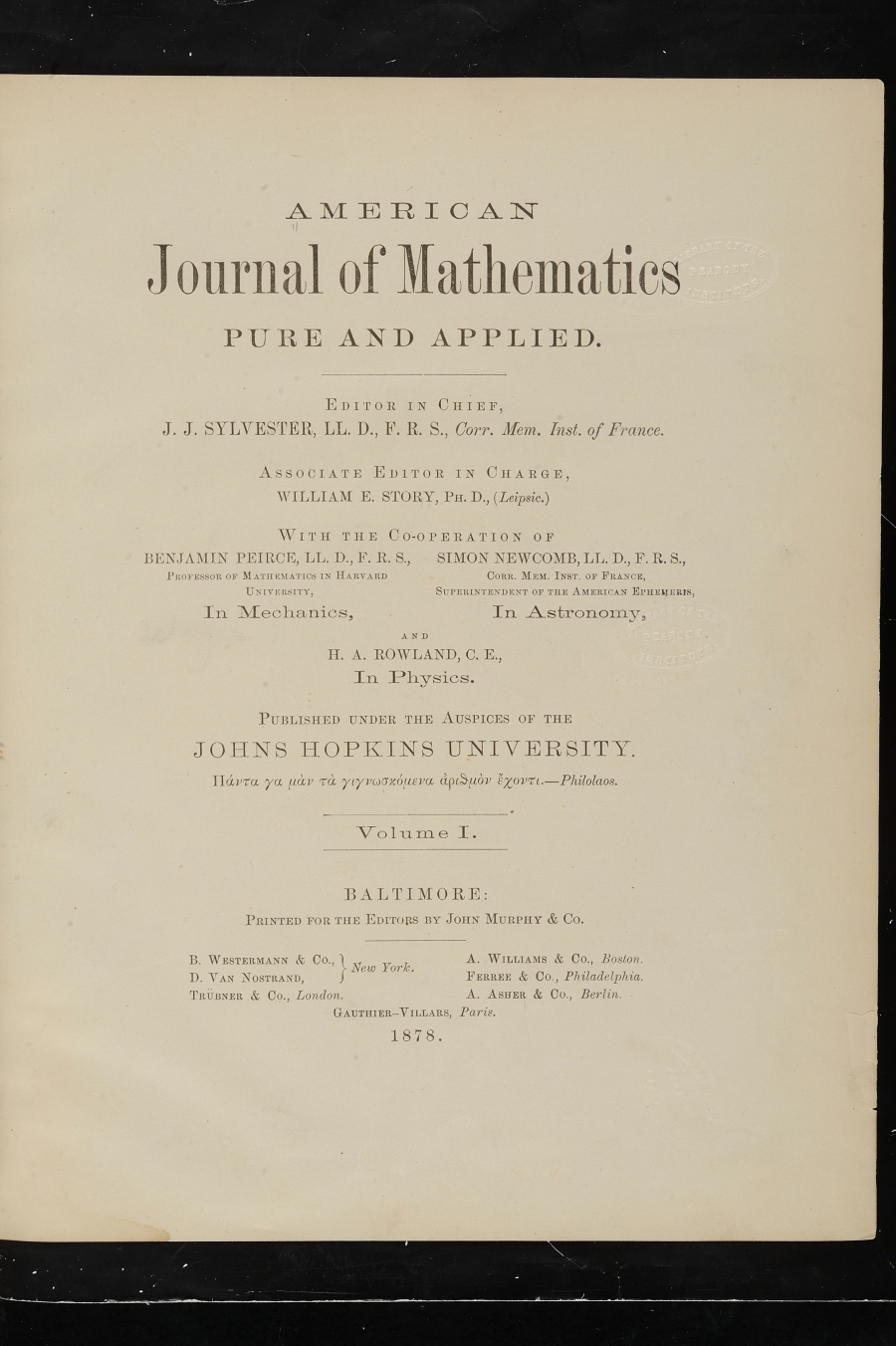 Title page to JHU Press's first publication in 1878, the American Journal of Mathmatics