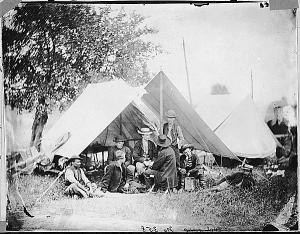 "This Matthew Brady photograph, ""US Military Telegraph Operators, Headquarters, Army of the Potomac,"" captured both the youth of military telegraphers and their living and working conditions.  National Archives NWDNS-111-B-7208, July 1863."