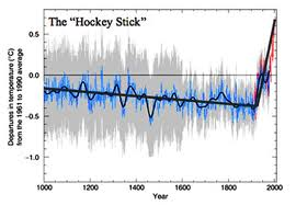 "The Mann et al. (1998) ""hockey stick"" graph, showing the relatively steady climate of the past 1000 years, and the anomalously fast rise of temperatures in the last 150 years."