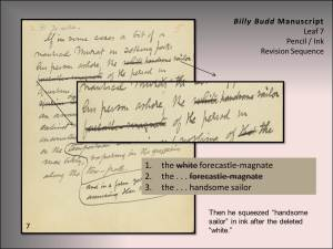 "The Melville Electronic Library project is using the digital tool TextLab to transcribe Melville's revision texts, to sequentialize them, and to tell the story of their evolution in a ""revision narrative."""