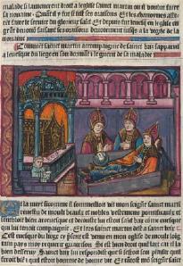 Saint Martin and Saint Brice curing the bishop of Liège of lupus From La Vie et les Miracles de Monseigneur Saint Martin, L1 v, 1496.
