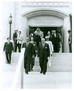 President Lyndon B. Johnson was the keynote speaker at the dedication of the Marshall Library on May 23, 1964. He was escorted down the steps by General Marshall's close friend and Marshall Foundation President General of the Army Omar Bradley.