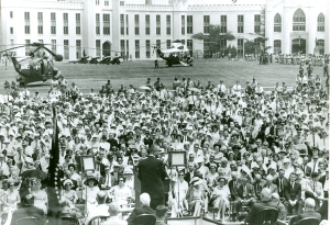 The library dedication drew more dignitaries and the largest crowd that Lexington had ever welcomed. Audience estimates ranged from ten to twenty thousand and security was tight when President Johnson took the podium just months after the Kennedy assassination.
