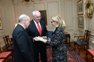 "Secretary of State Hillary Rodham Clinton received a copy of The Papers of George Catlett Marshall, volume 6, ""The Whole World Hangs in the Balance,"" January 8, 1947–September 30, 1949 on one of her final days in office."