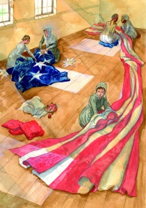 : Mary Pickergill, along with many helpers, hand sewed the new garrison flag for Fort McHenry in 1813.