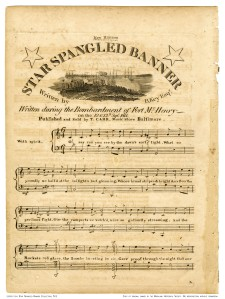 """This is the first published version of the """"Star-Spangled Banner"""" that identified the author but incorrectly refers to Francis Scott Key as """"B. Key, Esqr.""""  Note at the beginning of the song it states """"With Spirit."""""""