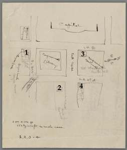 Diagram in Henry Folger's hand of four possible library sites on Capitol Hill (Folger Shakespeare Library).