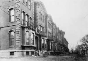 Grant's Row, the fourteen redbrick rowhouses built by Albert Grant and which were demolished (Library of Congress)