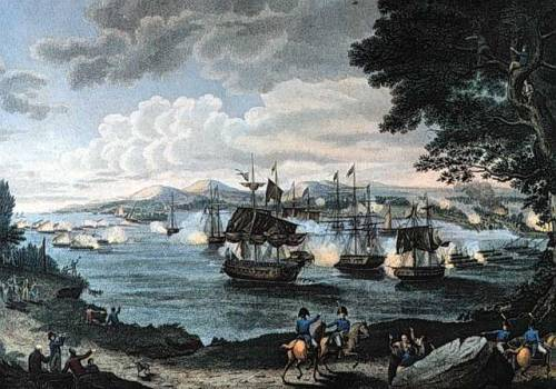 The 1814 Battle of Plattsburgh, a print after artwork by Hugh Reinagle, 1816, courtesy of the Library of Congress.