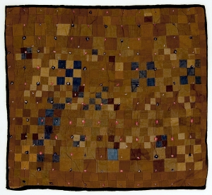"Nine Patch Four Patch, knotted comforter or ""hap,"" unknown Amish maker, LaGrange County, Indiana. From the collection of the Indiana State Museum and Historic Sites."