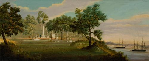 View of Foreign Cemetery on Dane's Island, attributed to Sunqua,     1840, was the final resting place for a number of American travelers. (Courtesy of the Peabody Essex Museum)